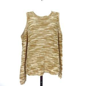 Express cold shoulder Medium gold/white sweater
